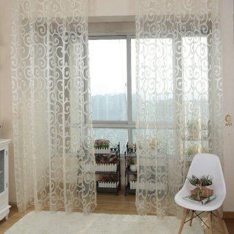 ผ้าป่านเนื้อหวานดอกไม้บานหน้าต่างผ้าม่านขาว