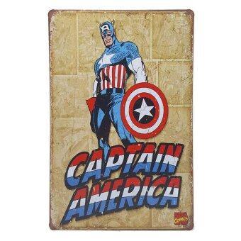 ป้ายสังกะสีวินเทจ Captain American Marvel Comics