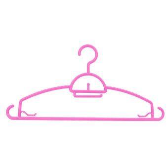 DMT ไม้แขวนเสื้ออย่างหนา 6แพ็ค x 5อัน (สีชมพู)