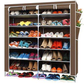 Hakone ชั้นวางรองเท้า ตู้เก็บรองเท้า ตู้ใส่รองเท้า 6 ชั้น จำนวน 42 คู่ ผ้าคลุม non woven กันน้ำ (สีน้ำตาล)