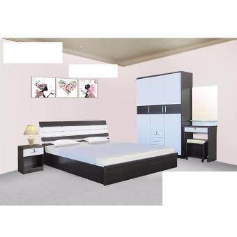 RF Furniture ชุดห้องนอนระแนง 5 ฟุต เตียง 5 ฟุต + ตู้เสื้อผ้า 3 บาน + โต๊ะแป้ง 60 cm + ตู้ข้างเตียง + ที่นอนสปริง ( โอ๊ค / ขาว )