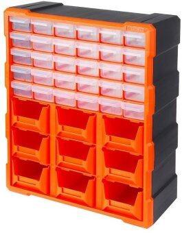 Mustme Tactix 320644 Drawer Cabinet กล่องเครื่องมือช่าง 30ช่อง+ถาด 9ช่อง, สีดำ/สีส้ม