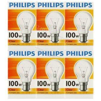 Philips แพ็คหลอดไส้ ทรงปิงปอง 100W B22 ใส x 6 หลอด