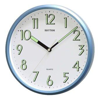 RHYTHM นาฬิกาแขวนผนัง ตัวเลขมีพรายน้ำ รุ่น CMG727NR04 สีบอร์นฟ้า