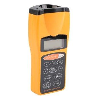 โอมิเตอร์วัดระยะทางเลเซอร์แอลซีดีล้ำเสียงใครชี้ช่วง 18แผ่นเครื่องมือส้ม และสีดำ