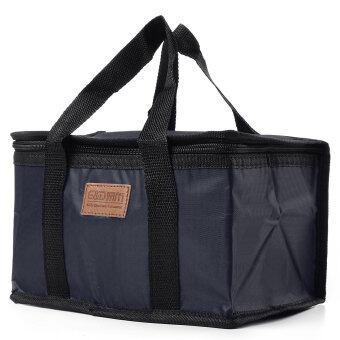 ฉนวนกันน้ำร้อนกระติกเก็บกระเป๋าเตรียมกล่องอาหารกลางวันส่วนใหญ่พับสีกรมท่า