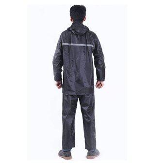 ชุดกันฝน เสื้อกันฝน มีแถบสะท้อนแสง (เสื้อ+กางเกง) - สีกรมท่า