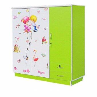 RF Furniture ตู้เสื้อผ้าเด็ก 120 cm 3ประตูทึบ รุ่น Wk003p-g/w3 ( สีเขียวสติกเกอร์ )