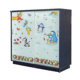 RF Furniture ตู้เสื้อผ้าเด็ก 120 cm บานเลื่อน รุ่น WR120SL ( สีโอ๊คลายการ์ตูนน่ารัก )