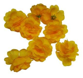 Dokpikul หัวดอกกุหลาบปลอม ดอกไม้ผ้าประดิษฐ์ กุหลาบมอญ สีเหลือง 6ซม. แพค 100ดอก