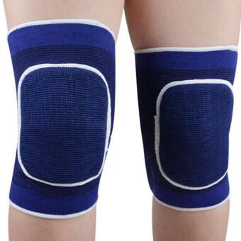 Linemart 1 คู่รองรับเข่าตัดฟองน้ำยางรัดสายกีฬาสายป้องกันแผ่นรองเข่าลูกสะบ้า (สีน้ำเงิน)