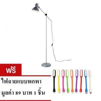 โคมไฟตั้งพื้น ไม่รวมหลอด-สีเงิน แถมไฟ LED USB