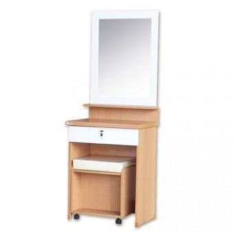 Asia โต๊ะเครื่องแป้งรุ่น DT601+สตูลนั่ง สีบีช/ขาว