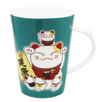 LEE TAI FU แก้วเซรามิคแมวมาเนะกิเนะโกะ (สีเขียว)