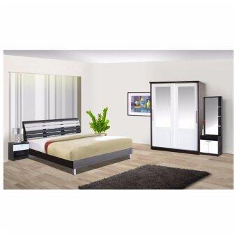RF Furniture ชุดห้องนอนระแนง 5 ฟุต เตียง 5 ฟุต + ตู้เสื้อผ้าบานเลือน 120 cm + โต๊ะแป้งยืน 60 cm + ตู้ข้างเตียง + ที่นอนสปริง ( สีโอ๊ค / ขาว )