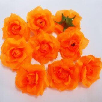 Dokpikul-หัวดอกกุหลาบพวง ดอกไม้ปลอม ดอกไม้ผ้าประดิษฐ์ ขนาด 5ซม.แพค 100 ดอก-สีส้ม