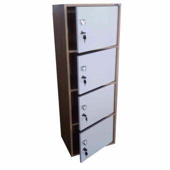 Grace Shop ตู้ล๊อกเกอร์ ตู้เก็บของ ชั้นไม้เอนกปรนะสงค์ 4ชั้น พร้อมบาเปิดปิดมีกุญแจ รุ่น Locker cabinet (สีลายไม้โอ๊ดเส้น)