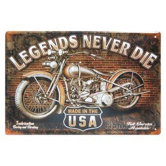 MonkeyAct ป้ายสังกะสีวินเทจ Legends Never Die, HD Motorcycle