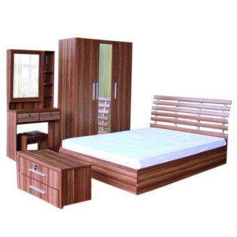RF Furniture ชุดห้องนอนDD 6 ฟุต เตียง 6 ฟุต + ตู้เสื้อผ้า135cm + โต๊ะแป้ง 80 ชม + ตู้ข้างเตียง+ ที่นอนสปริง ( สีวอลนัท )