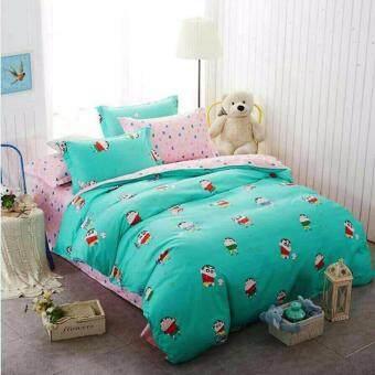Sweet Kip ชุดผ้าปูที่นอน 6 ฟุต พร้อมผ้านวม 5 ชิ้น ลายชินจังสีมิ้นต์
