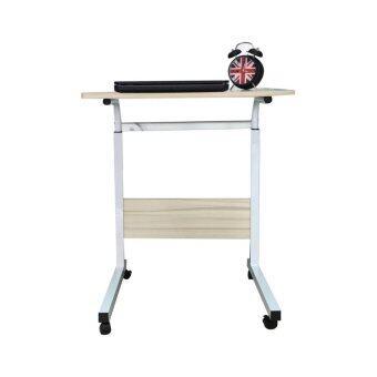 โต๊ะวางโน๊ตบุค 60 CM. มีล้อ รุ่นปรับระดับได้ สี Maple