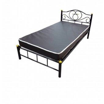 Asia เตียงเหล็ก สีดำ 3.5ฟุต ขา2นิ้ว พร้อมที่นอน3.5ฟุตใยยางหุ้ม pvc