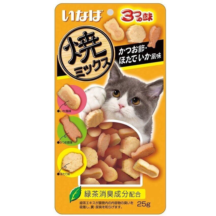 INABA ขนมแมว soft bits ปลาทูน่า และเนื้อสันในไก่ ผสมปลาโอแห้ง หอยเชลล์ ปลาหมึก 25g ( 3 units )