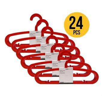 Index Living Mall ไม้แขวนเสื้อพลาสติกชนิดหนา 4 ชิ้นต่อชุด*6(ทั้งหมด 24 ชิ้น) - สีแดง