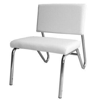 Inter Steel เก้าอี้โซฟาขาเหล็ก 1ที่นั่ง โครงเหล็กโครเมี่ยมเงาเบาะหนังเทียม (สีขาว)