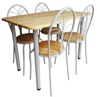 Inter Steel ชุดโต๊ะกินข้าว 4ที่นั่ง ชุดJinny Nature75x120(สีเทา/ไม้ยางพาราธรรมชาติ)