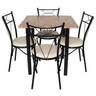 Inter Steel ชุดโต๊ะกินข้าว 4ที่นั่ง ชุดMono(เบาะครีม) Nature75 ( โครงสีดำ/ท็อปไม้ยางธรรมชาติ )