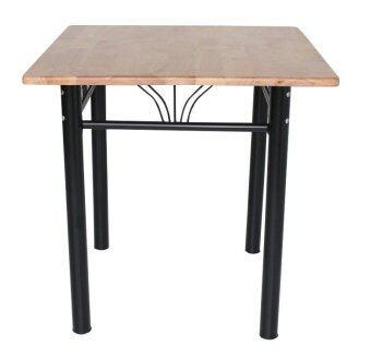 Inter Steel โต๊ะทานข้าว ท็อปสี่เหลี่ยม รุ่น 75x75-TW(ขาสีดำ/ท้อปไม้ยางพารา)