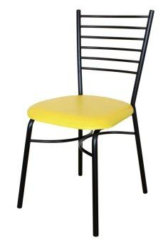 Inter Steel เก้าอี้เหล็ก มีพนักพิง รุ่น CH333# โครงเหล็กสีดำ -เบาะสีเหลือง