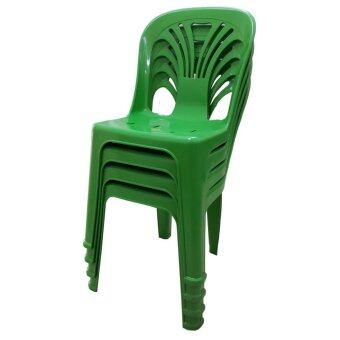 Inter Steel เก้าอี้พลาสติก มีพนักพิง รุ่นหลังW แพ็ค4ตัว (สีเขียว)