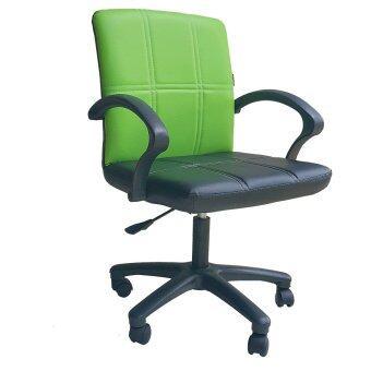 เปรียบเทียบราคา Inter Steel เก้าอี้สำนักงาน ระบบโช๊คแก็ส หลังพิงซวิง รุ่น OfficeChair03 ( เบาะหนังสีดำ/เขียว )