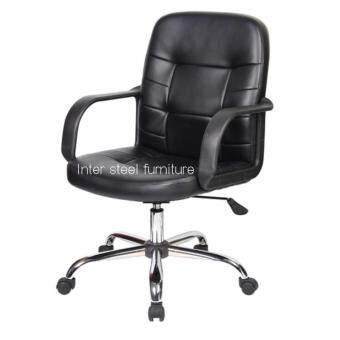 Inter steel เก้าอี้สำนักงานนั่งปรับโช๊คมีพักแขนฐานล้อหมุนR-Simple