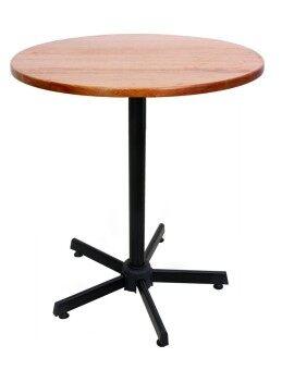 Inter Steel โต๊ะอาหาร รุ่น T15 ขาสีดำ ท้อปกลม - สีเชอร์รี่