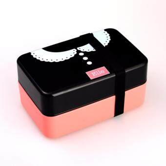 สนใจซื้อ Inthebox-Shop กล่องข้าวอุ่นไมโครเวฟได้แบบ 2ชั้นพร้อมช้อน-ส้อมและสายรัดกล่อง (สีชมพูอ่อน)