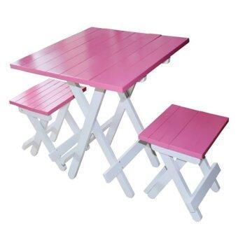 Intrend Design ชุดโต๊ะสนามปิคนิค เก้าอี้2ตัว ขาพับได้ - ท็อปสีชมพู