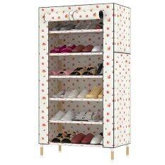 KAKUKI ชั้นวางรองเท้าแฟชั่นเกาหลี โครงไม้ Hot item Fashion Folding Shoes 7 ชั้น + ผ้าคลุม