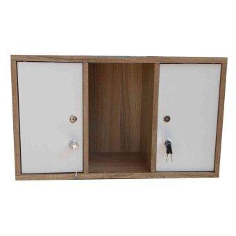 ขอเสนอ Kit shop ตู้ล๊อกเกอร์ ตู้เก็บของ ชั้นไม้เอนกประสงค์ 3 ชั้น รุ่น Box3 มีบานเปิดปิด (สีขาว/ลายไม้ไว้โอ๊ด)