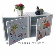 KMP Furnifure ตู้เซฟวินเทจ ตู้เก็บของ ตู้ข้างเตียง ตู้อเนกประสงค์ แพ็คคู่ 2 ตัว รุ่น Safe Box1-2 (สีขาว/ลายภาพการ์ตูน)