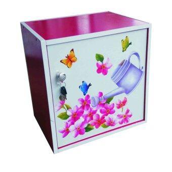 KMP Furnifure ตู้เซฟวินเทจ ตู้เก็บของ ตู้ข้างเตียง ตู้อเนกประสงค์รุ่น Safe Box1-2 (สีชมพูลายภาพหลากสี/ขาว)