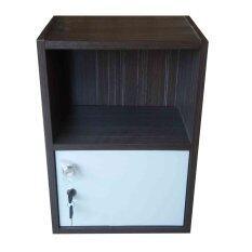 KMP Furnitureตู้ล๊อกเกอร์ ตู้เก็บของ ตู้ข้างเตียง ชั้นไม้เอนกประสงค์2ชั้น รุ่นBox 2มีบานเปิดปิด(สีลอฟ/ขาว)