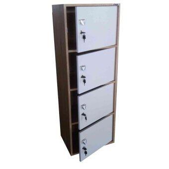 KMP Furniture ตู้ล็อคเกอร์ ตู้เอนกประสงค์ ชั้นวางของ 4 ชั้น รุ่นBox 4 พร้อมบานเปิดปิด(สีลายไม้ลอฟโอ๊ด/หน้าบานขาว)