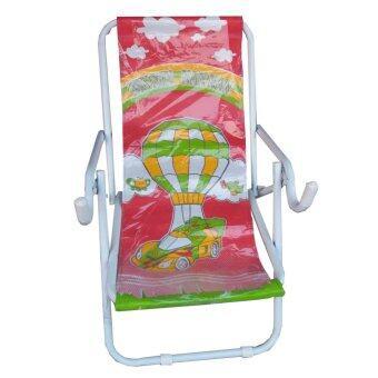 KMP Furnitureเก้าอี้โยกปรับนอนเตียงโยกปรับนอน รุ่น เหล็กหนาพับได้(สีขาว/ผ้าลายสีแดง)