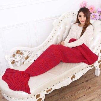 ราคา LALANG Sofa Knitting Mermaid Tail Blankets Air Conditioning Blanket(Red )