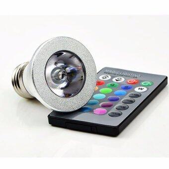 หลอดไฟ LED RGB 16 สี หัวโคมแบน พร้อมรีโมท