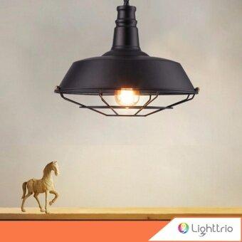 Lighttrio โคมไฟแขวนเพดาน Loft Style พร้อมหลอดไส้เอดิสัน 40 วัตต์ สีดำ Tomson36