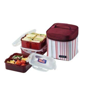 Lock & Lock Square Lunch Box 3-Piece Set with Insulated StripeBag Purple